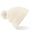 Winter muts met pompon voor volwassenen creme wit